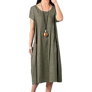 eb1e9ef26b523c Vivid Linen Short Sleeve Dress-XS-Apple Red at Amazon Women's ...