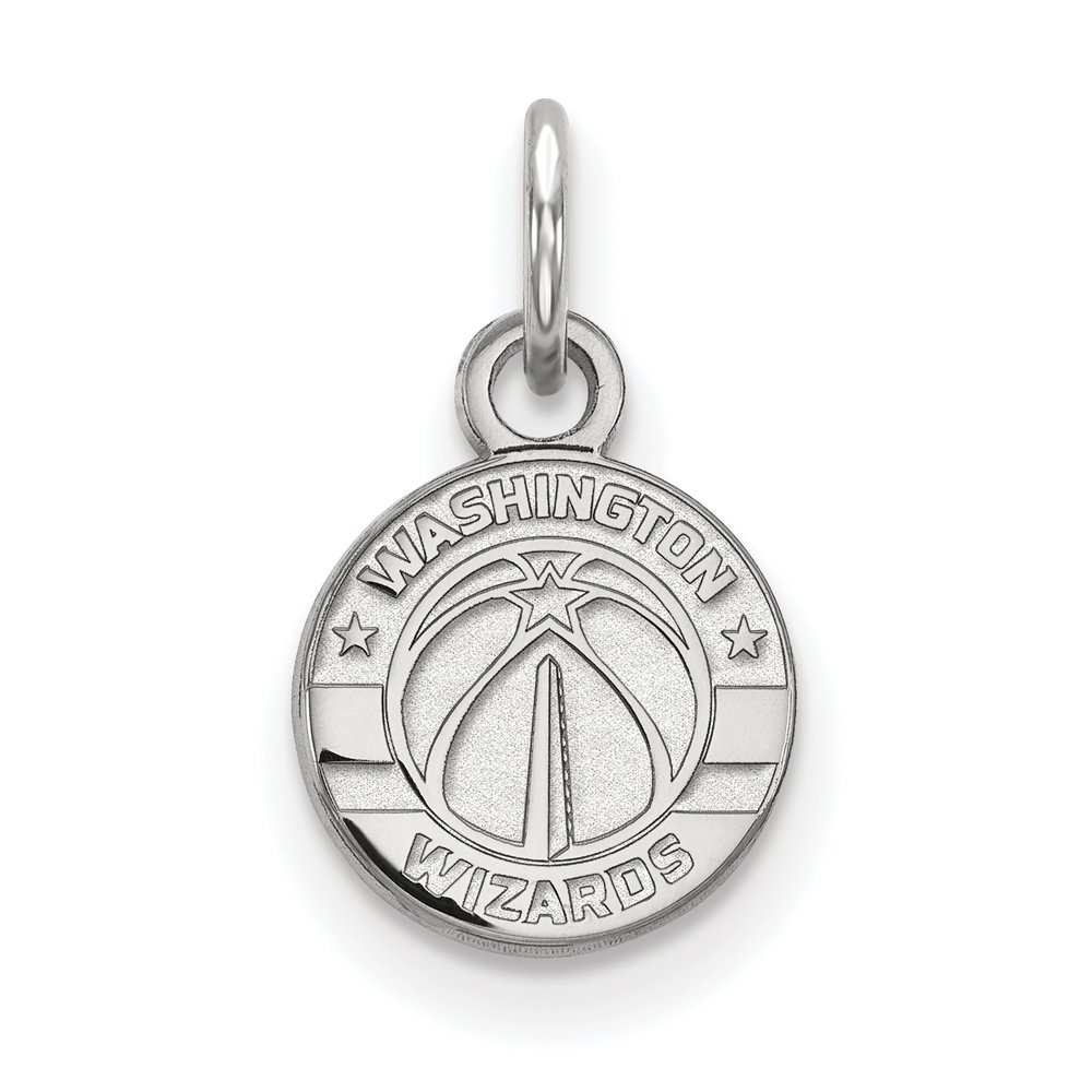 NBA Washington Wizards Xsmall Logo Pendant in Rhodium Plated Sterling Silver