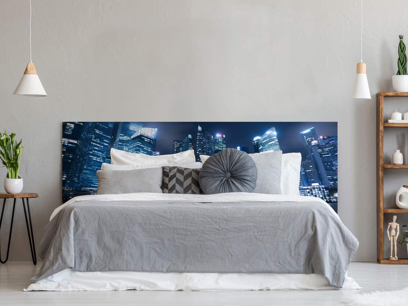 Cabecero Cama PVC Nocturno Urbano | Varias Medidas 200x60cm | Fácil colocación | Decoración Habitación | Motivos paisajísticos | Naturaleza | Urbes | ...