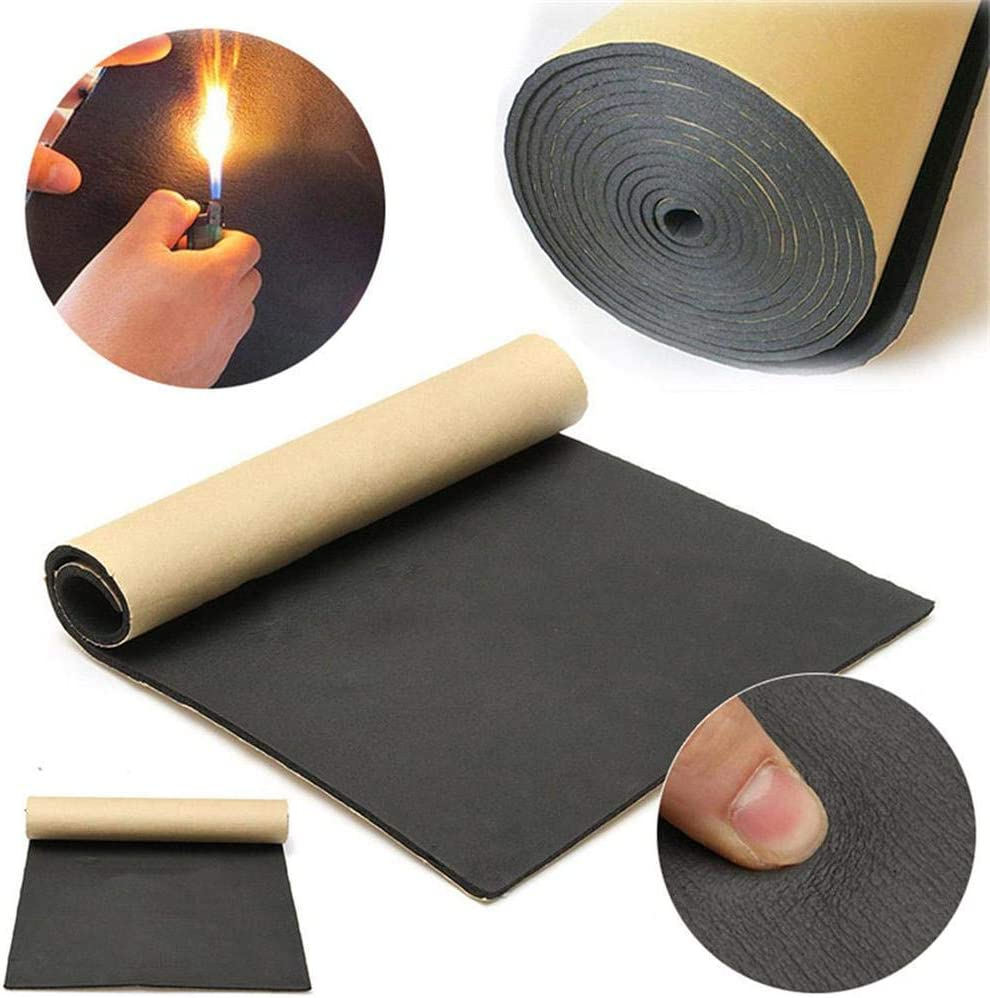 9pcs 6MM Car Soundproof Cotton Rubber Plastic Cotton 30 50cm Sound Insulation Cushion Fireproof and Heat-Insulating mats for Automobiles for Doors Roofs