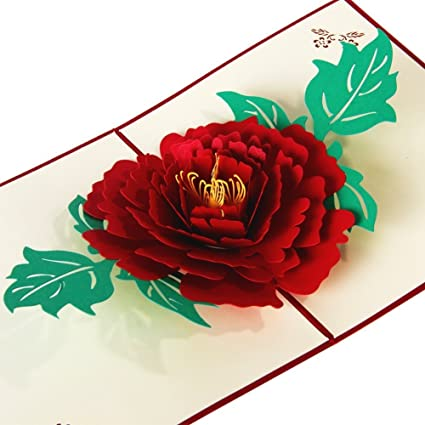 Peony Flower Greeting Cards Romantic Popup 3D For Girls Birthday Graduation Card