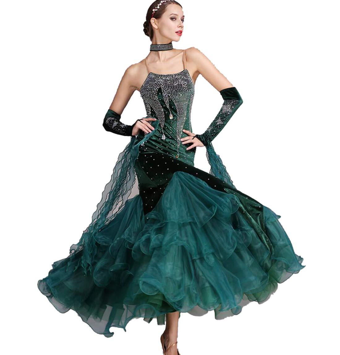 A XXL ZYLL Robes de Danse de Salon Robe de Danse Moderne pour Les Femmes Norme Nationale Costume de Danse de Salon en Dentelle Couture Tango Valse Exercice Jupe Tulle balançoire