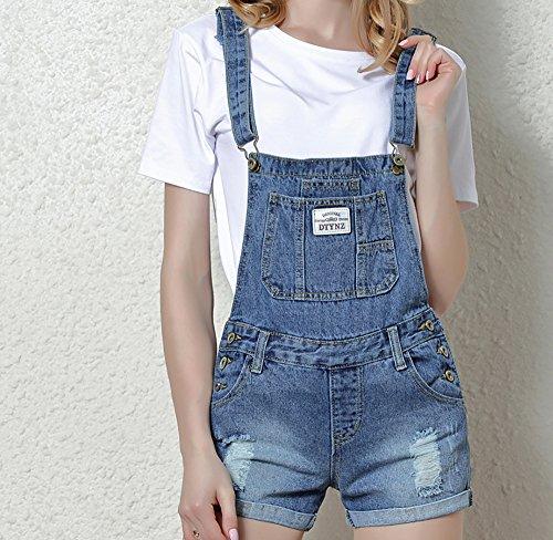 Salopette Tasca Hole Regolabile Grande Strap Denim Short Distressed Pantalone Con Blu 1065 Lady Elwow Pagliaccetto Bib Gradient 5000 wxSByq7