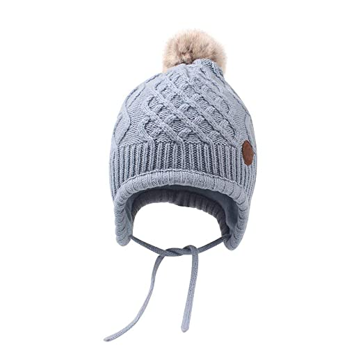 39a098c3b58 XIAOHAWANG Toddler Infant Winter Beanie with Hairball Unisex Polar Knit  Kids Hat with Earflap Cute Fleece