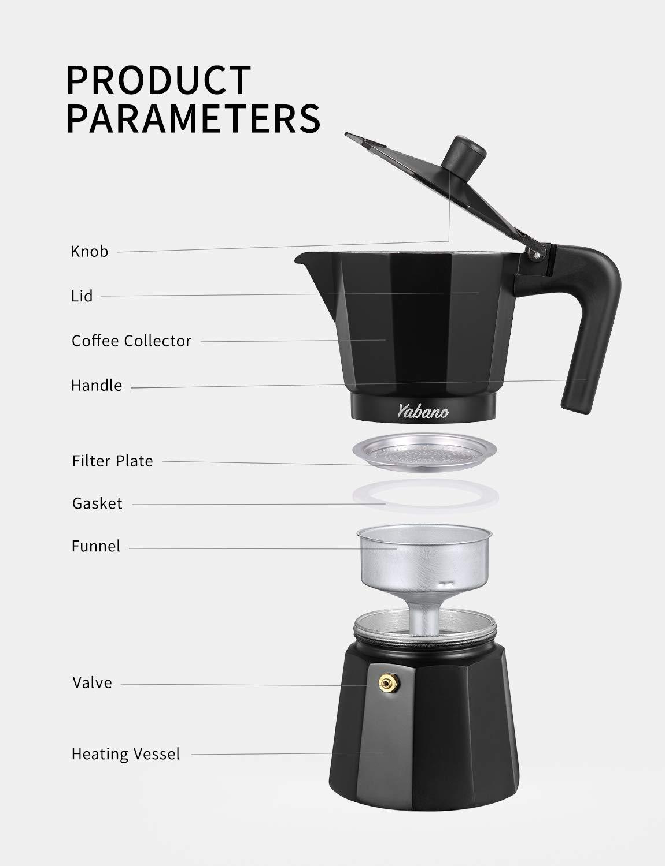 Amazon.com: Yabano - Cafetera italiana de 6 tazas para gas o ...