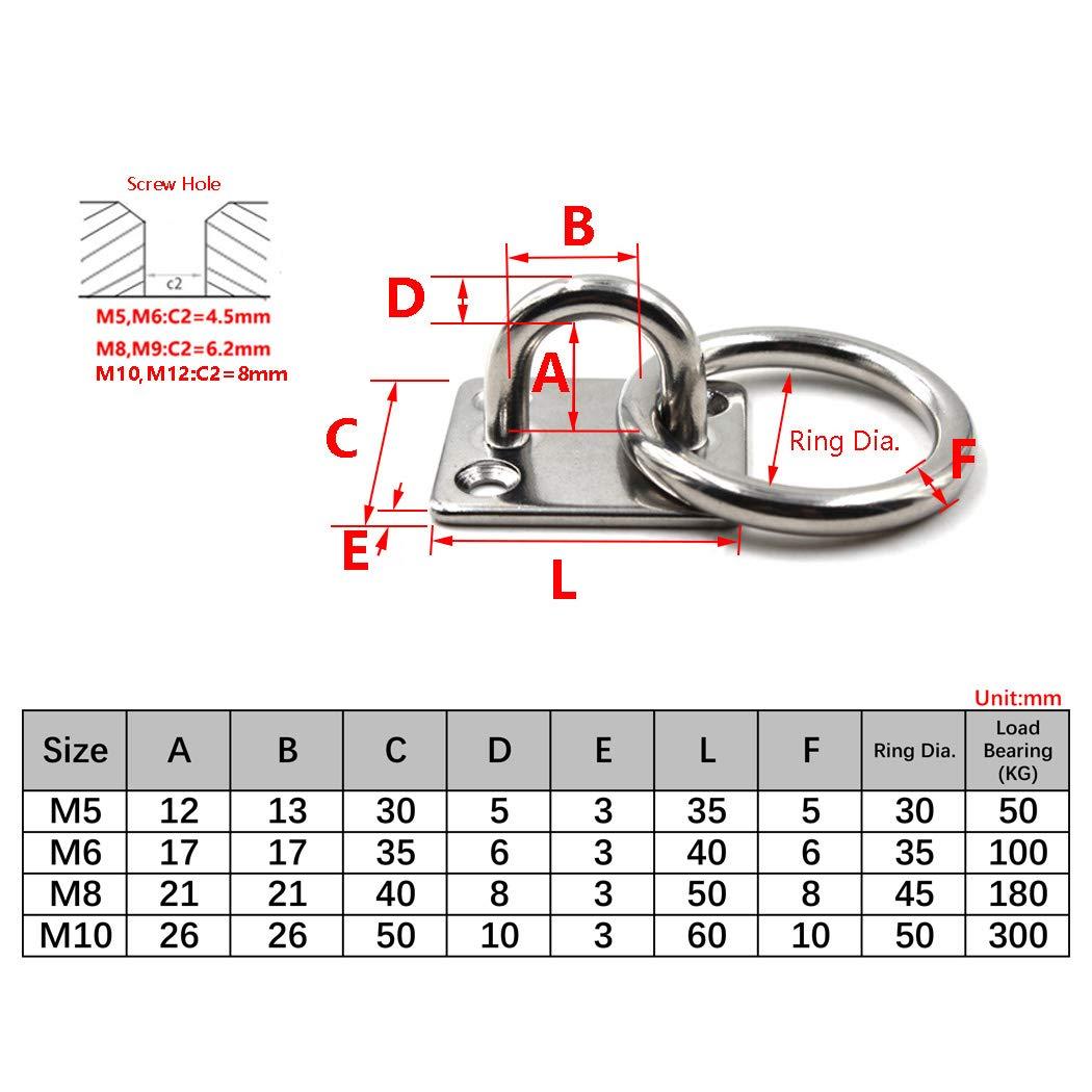 Flomore M6 Augplatte Edelstahl Haken Wandmontage Haken Packung mit 6 Schrauben enthalten