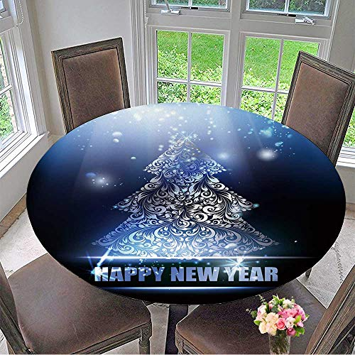 Mikihome Picnic Circle Table Cloths Merry Christmas and Happy New Year Card Over Dark Background Vector for Family Dinners or Gatherings 40