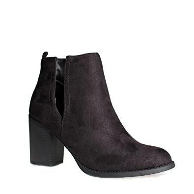 Women's ZN68 Low Stacked Chunky Heel - Point Toe Block Heel - Cutout V Shaped Slit Ankle Boot