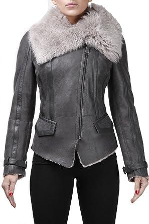 770734f8da8 Women's Grey Short Real Toscana Shearling Sheepskin Wool Flying Jacket XS