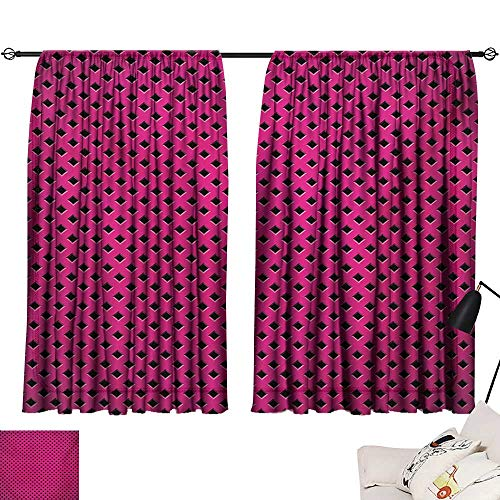 "Ediyuneth Turquoise Curtains Magenta,Diamond Line Grill Cross Wire Design Logo Digital Motif Image Print,Black Fuchsia 72""x96"",with Grid Composition Decorative Curtains for Living Room"