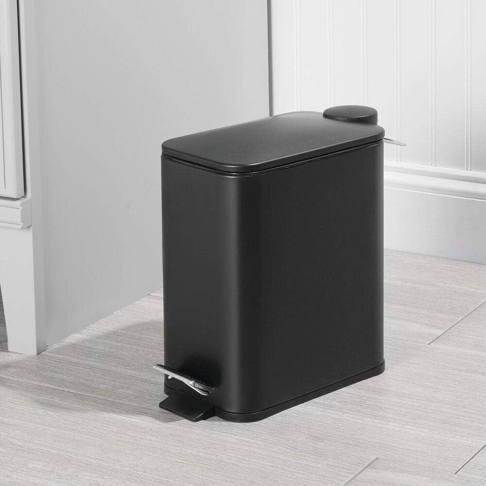 Elegante contenedor de residuos para ba/ño Cocina y Oficina Cubo met/álico de 5 litros con Pedal Negro tapadera y Cubo Interior de pl/ástico mDesign Papelera de ba/ño Rectangular