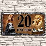 Custom Cocker Spaniel Dog House Slate Personalised Pet Name Number Sign - 30cm x 15cm by Krafty Gifts