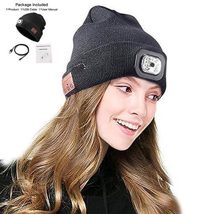 6baecd4f43e Amazon.com  Bluetooth LED Headlight Beanie Hat