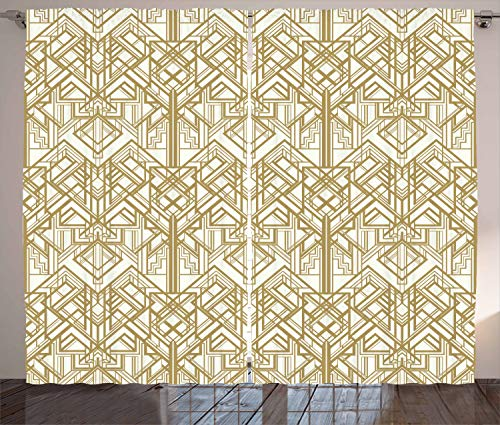 Ambesonne Geometric Curtains, 1920s Style Futuristic Retro Mix Vertically Symmetrical Design, Living Room Bedroom Window Drapes 2 Panel Set, 108 W X 84 L Inches, Pale Brown and Off White -