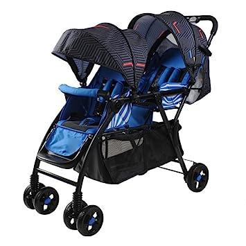 Carrito para Bebés Gemelos Carrito Doble Plegable Y Liviano Carrito para Bebés Al Aire Libre Comodidad OneSize,Blue: Amazon.es: Jardín