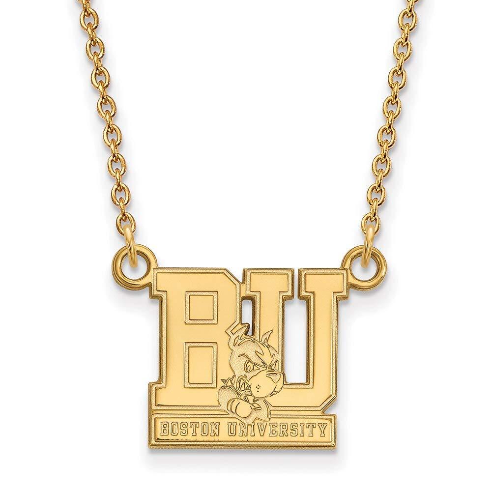 Lex /& Lu LogoArt Sterling Silver w//GP Boston University Small Pendant w//Necklace