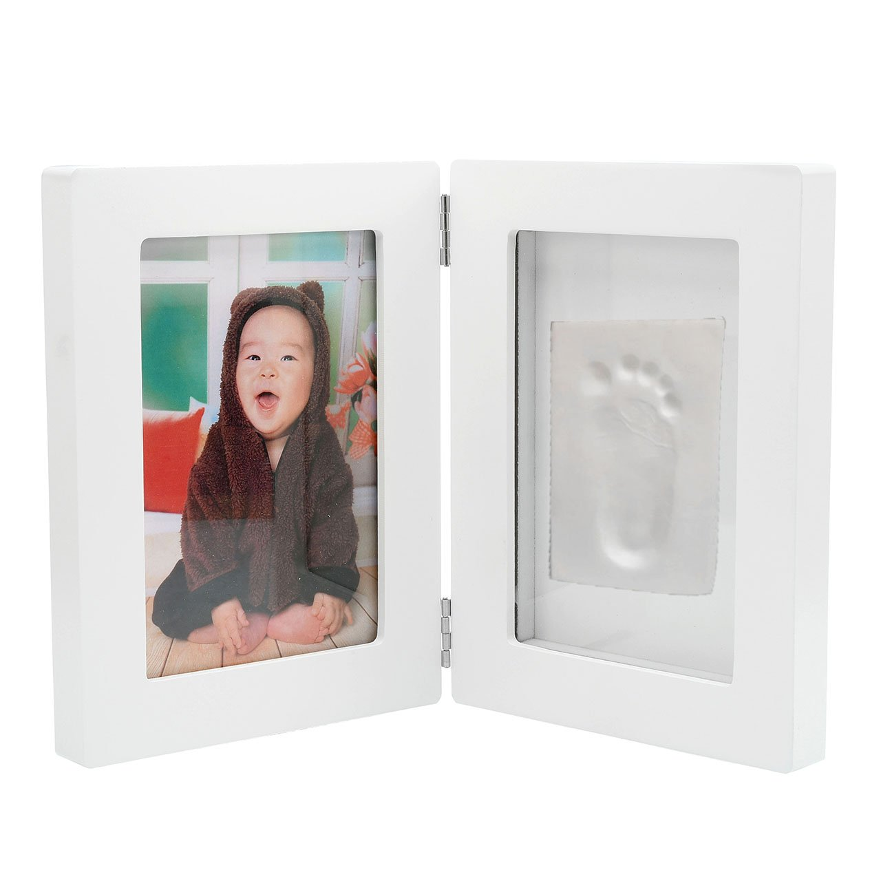 Mogoko Newborn Baby Hand Print Or Footprint Photo Frame Kit - Baby Shower Gifts for Registry, Memorable Keepsakes Decorations, Christening Gift Toddlers Birthday Presents (8.2''(L) 6.2''(W) 2.3''(H))
