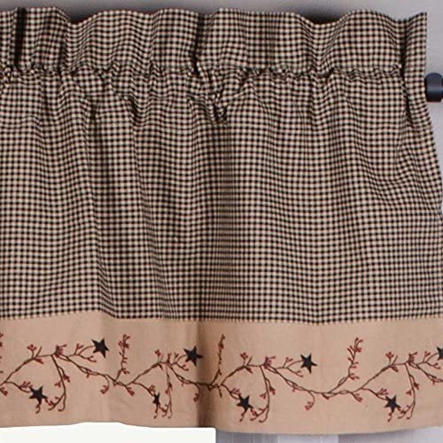 Primitive Home Decors Star Berry Vine Gingham Valance – Black
