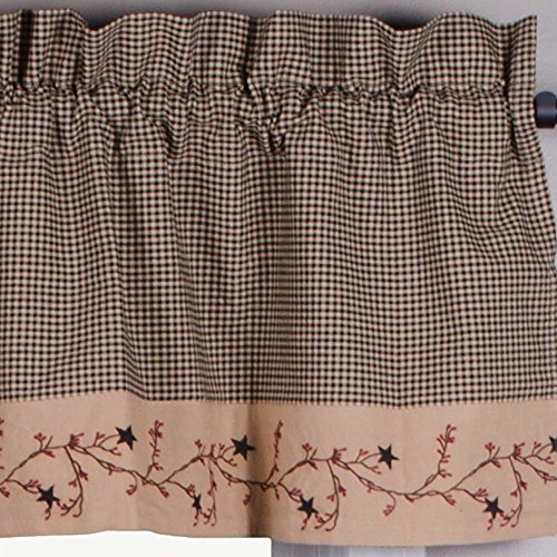- Primitive Home Decors Star Berry Vine Gingham Valance - Black
