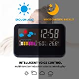 IDABAY Multifunctional Indoor Outdoor Digital Color LCD Display LED Projection Alarm Clock Hygrometer with Voice-activated Backlight/Home Weather