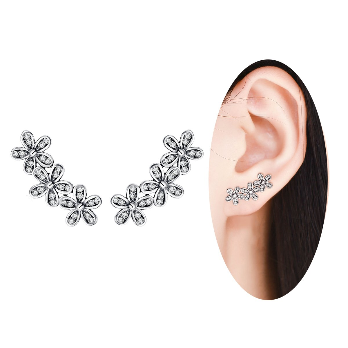 BAMOER New Arrival 925 Sterling Silver Antique Black Daisy Flowers Crawler Earrings for Women Teen Girls Thanksgiving Christmas Day Gifts (Daisy Flowers)