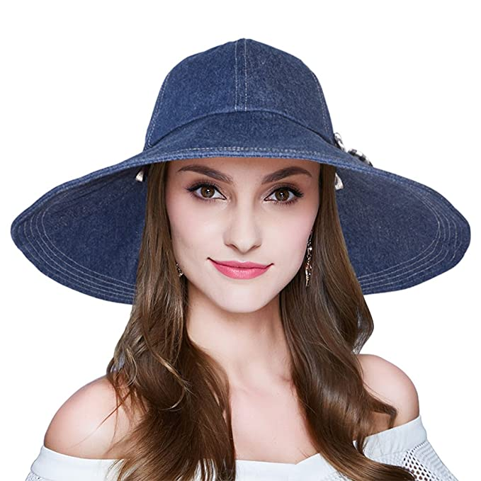 9683ebd47b5 AOMUU Womens Floppy Summer Sun Hat Outdoor Foldable Wide Brim Beach Cap  Deep Denim
