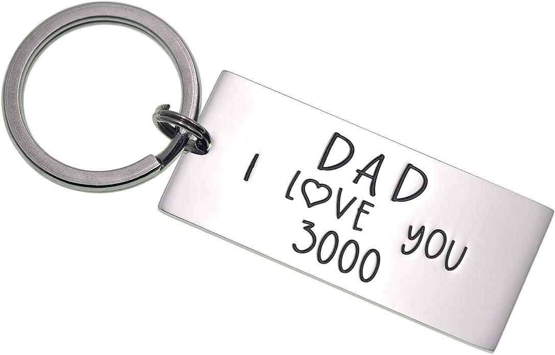 I Love You 3000 Porte-cl/és en acier inoxydable avec inscription grav/ée Dad Daddy Grandpa