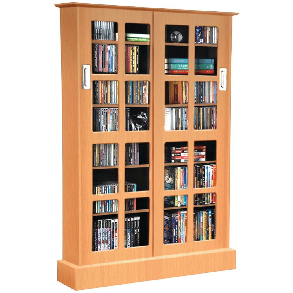 Atlantic Windowpane Media Cabinet With Sliding Glass Doors In Maple Inc. 94835722