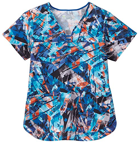 Bio Women's Cutout Y-Neck Abstract Print Scrub Top XX-Large Print Abstract Print