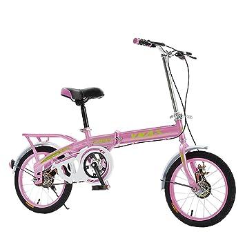 XQ Bicicleta Plegable Ultraligera Portátil De 16 Pulgadas Bicicleta Infantil De Una Velocidad Individual (Color