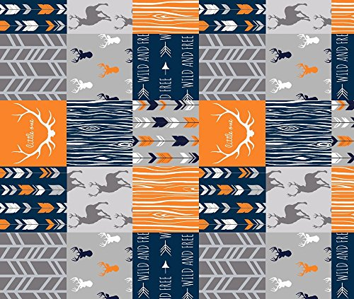 Whole Cloth Fabric Wholecloth Quilt- Navy, Orange, Grey -Patchwork Deer Arrows Woodgrain by Sugarpinedesign Printed on Fleece Fabric by the Yard by Spoonflower (Hunting Fleece Fabric)