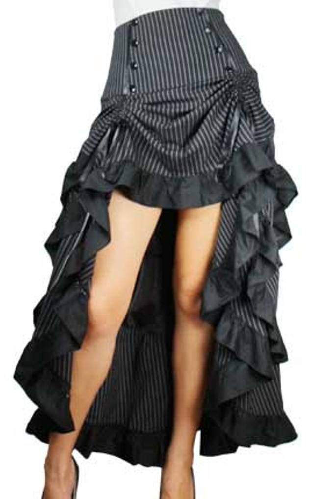 -Burlesque Blaze- Black White Pinstripe Gathered Steampunk Vintage Style Skirt (SM)