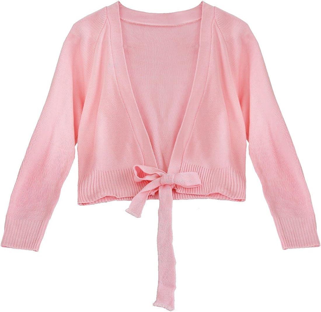 Freebily Manteau Enfant Filles Bol/éro Gilet Coton Knitted Manches Longues Tricot/é Cape de Ballet Danse 4-14 Ans