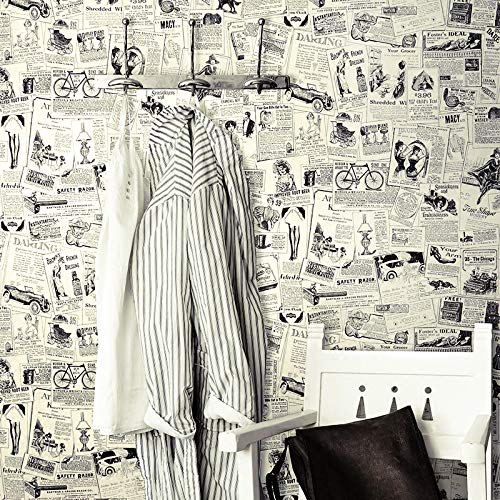Vintage Newspaper - HaokHome 63275 Thicker Material Vintage Newspaper Peel & Stick Wallpaper 17.7'' x 19.7ft Beige/Black Self Adhesive Contact Paper