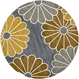 Safavieh Soho Collection SOH705A Handmade Grey and Yellow Premium Wool Round Area Rug (6′ Diameter)