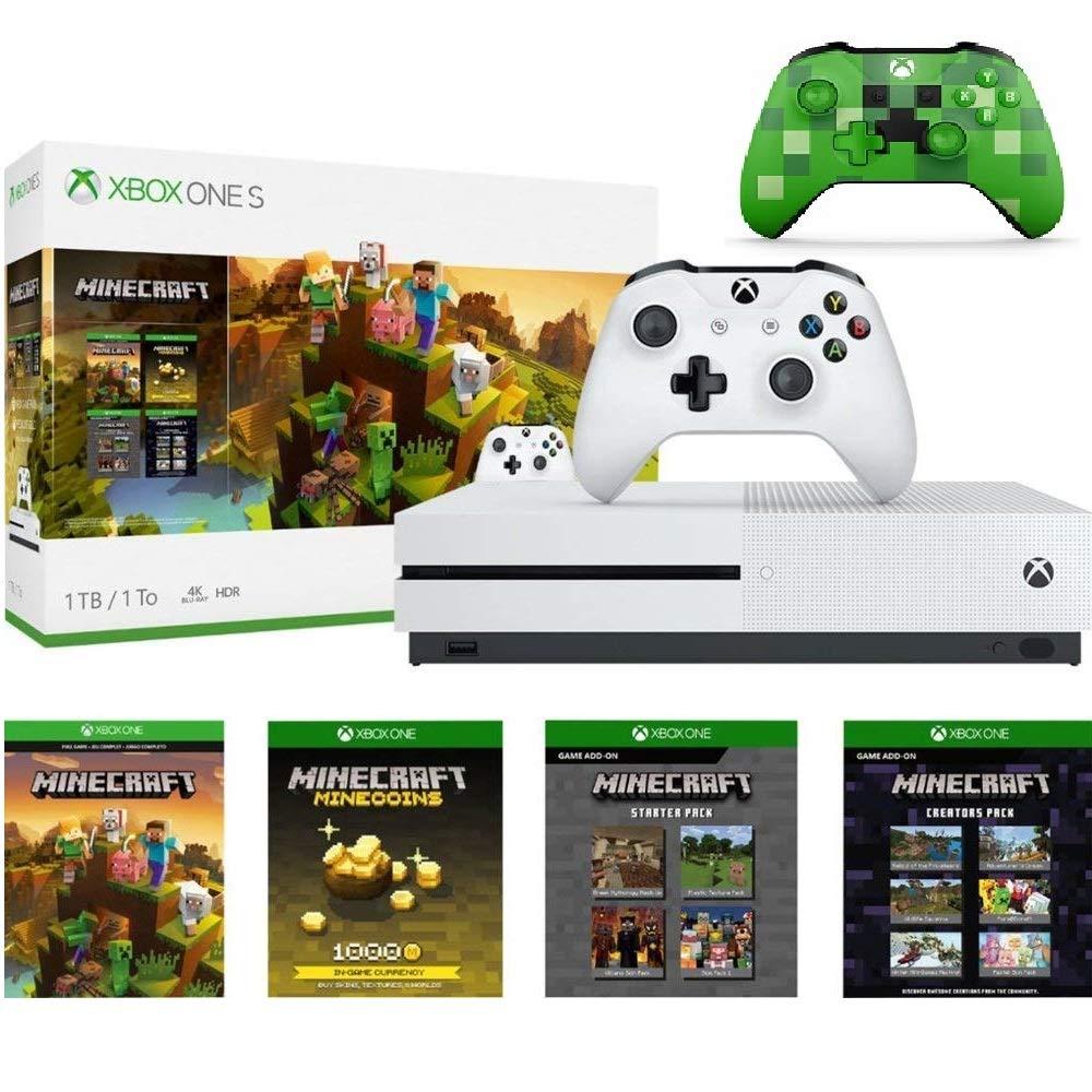 Microsoft Xbox One S 1111TB Minecraft Creators Bundle with Minecraft Creeper  Wireless Controller  1111K Ultra HD Blu-ray  Xbox One S 1111TB Storage Console