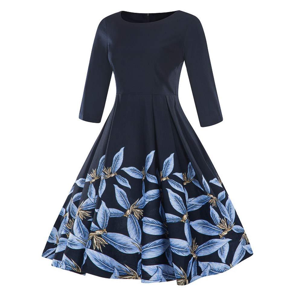 FarJing Women Dress Fashion Vintage Plus Size 3//4 Sleeve Floral Print Swing Dress