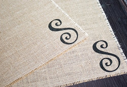 Custom Farmhouse style Monogramed Burlap Placemats - set of two personalized place mats