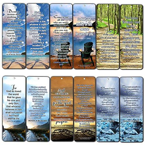 Most Highlighted Bible Verses Bookmarks Cards Bulk Set - KJV Version (12-Pack)- Religious Christian Inspirational Gifts to Encourage Men Women Boys Girls - Bible Study Sunday School War Room Decor
