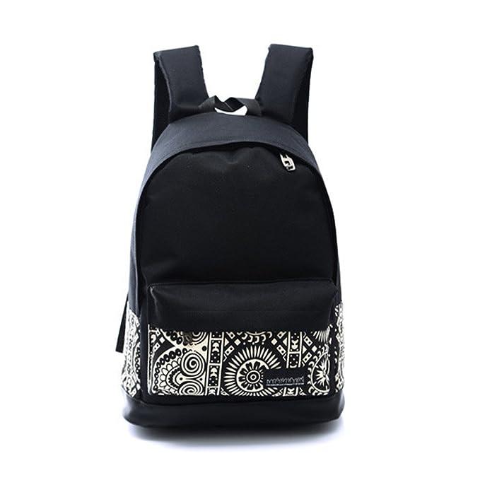 ESAILQ -Mochilas tipo casual con bordados flores bolso mujer universidas mochilas escolar chica, negro mediana,Bolsa de Lona de Las Mujeres: Amazon.es: Ropa ...