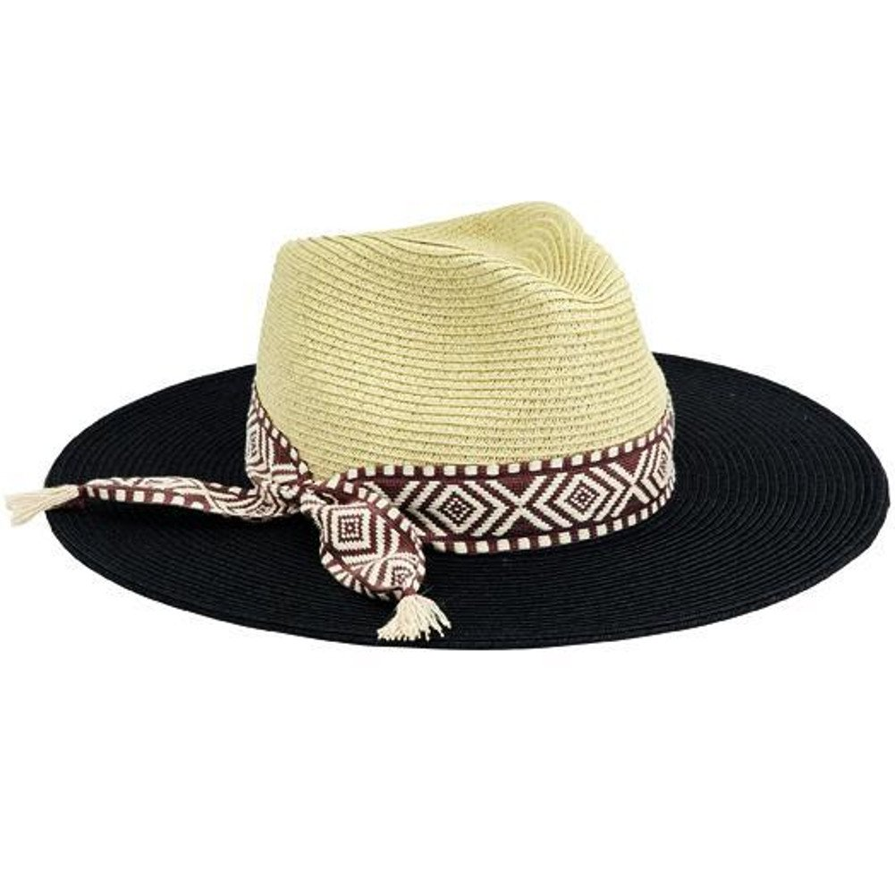 c09d0259a San Diego Hat Company Women's Colorblock Fedora with Jacquard Band ...