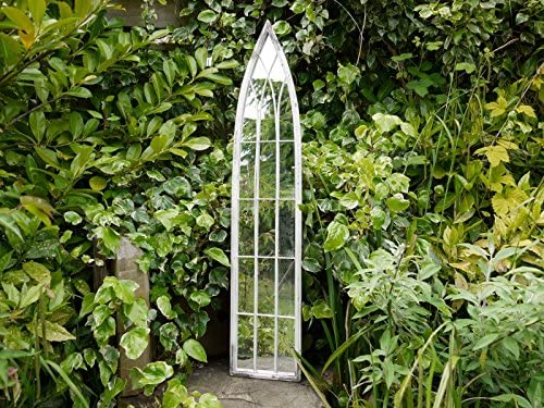 Envejecido arco jardín Espejo de estilo gótico Vintage lavado blanco soporte de pared marco de matal Shabby Chic decoración para el hogar 120 cm de alto: Amazon.es: Hogar