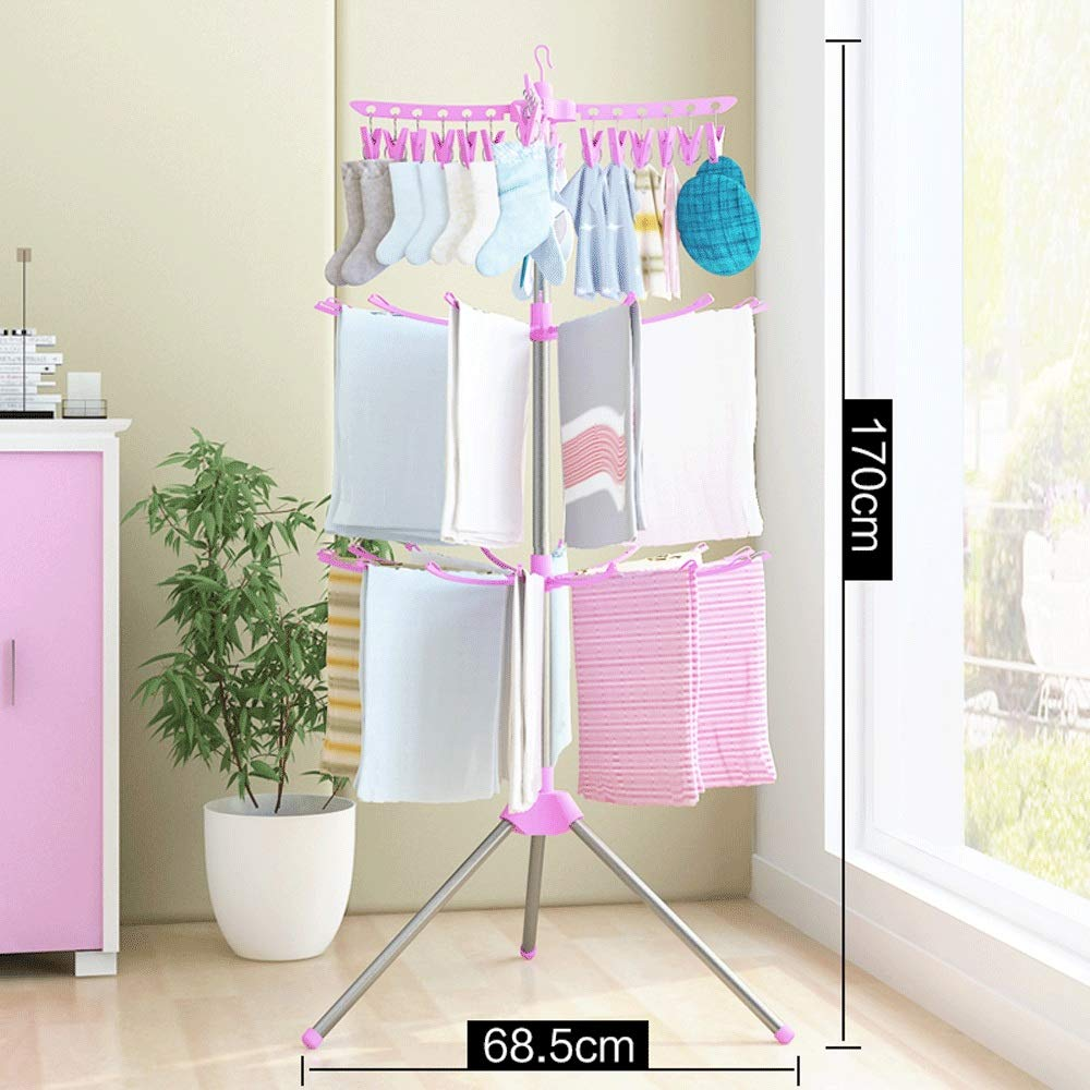 Drying Rack HDL Baby Baby Hanger Home Newborn Multifunctional Floor Folding Stainless Steel Children Hanger A++ (Color : A) by Drying Rack