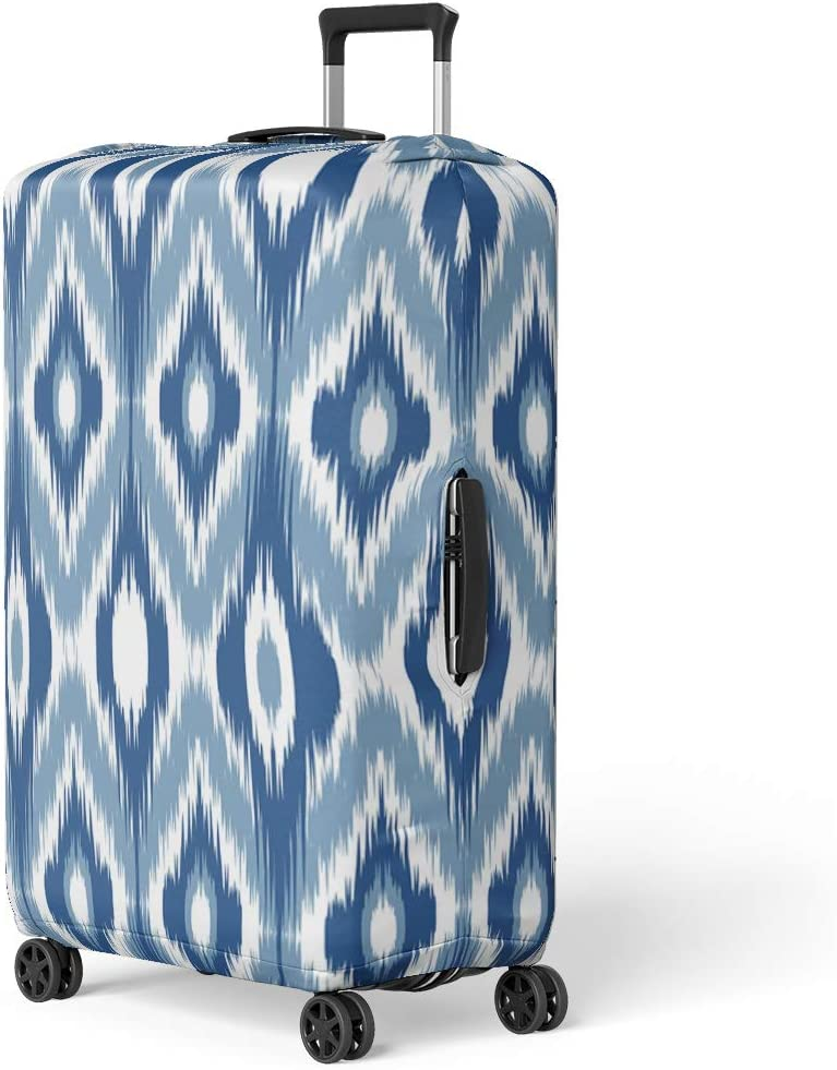 Pinbeam Luggage Cover White Blue Table Checkmate Pattern Abstract Checkered Fashioned Travel Suitcase Cover Protector Baggage Case Fits 22-24 inches