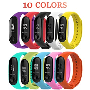 Xiaomi Mi Band 3 Bands 10 PCS Waterproof Silicone Wrist Strap Wristband  Bracelet Replacement Accessories For Xiaomi Mi Band 3 Smart Miband【GIFT