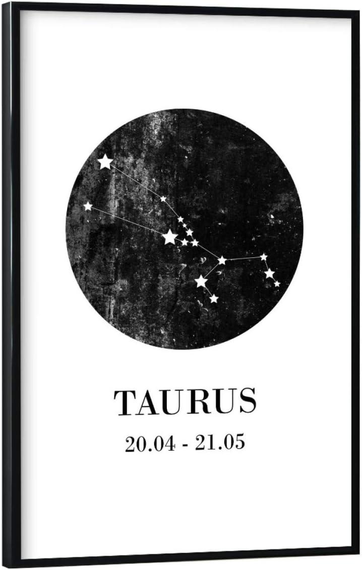 artboxONE Poster 30x20 cm Typografie Stier hochwertiger Design Kunstdruck Bild Zodiac Taurus Sternzeichen