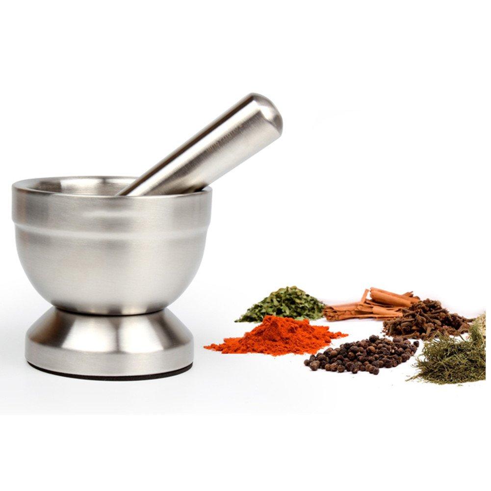 Pestle and Mortar Set, HomeYoo Stainless Steel Grinder/Crusher/Molcajete for Spice ginger Herb Seed garlic Grinding, Food Safe & Bpa Free (Medium-Diameter 12CM(4.7In))
