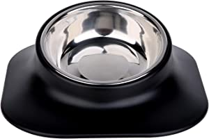 Ordermore Single and Double Dog Cat Bowls,15° Tilted Raised Cat Food and Water Bowls, Non Slip No Spill Pet Feeding Bowls for Small Dogs Cats (Single Bowl)