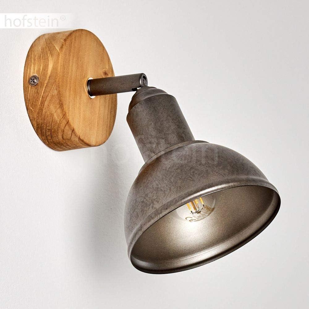 Aplique Onsala de madera y metal en negro//marr/ón dise/ño retro ideal para vest/íbulo y sal/ón adecuado para bombillas LED 25 vatios cabezal girable y efecto de luz en la pared 1 x E14 max