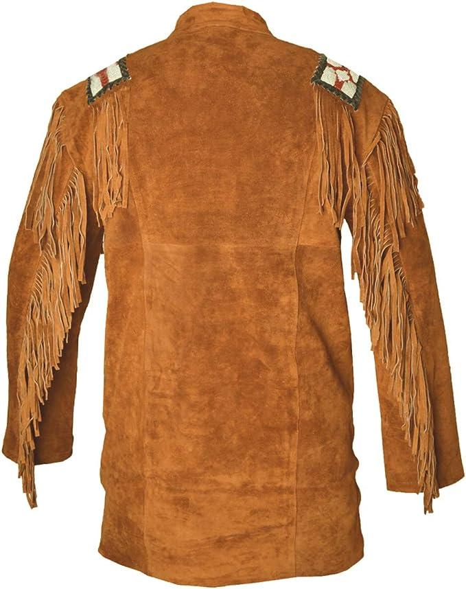 HLS Western Cowboy - Camisa de Piel de Ante con Flecos para Hombre D2 XXS-5XL, Color marrón: Amazon.es: Ropa y accesorios